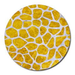 Skin1 White Marble & Yellow Marble (r) Round Mousepads by trendistuff