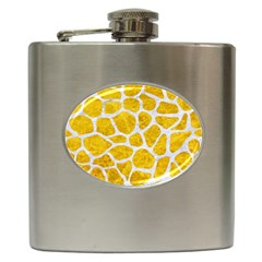 Skin1 White Marble & Yellow Marble (r) Hip Flask (6 Oz) by trendistuff