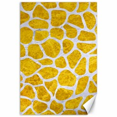 Skin1 White Marble & Yellow Marble (r) Canvas 12  X 18   by trendistuff