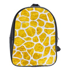 Skin1 White Marble & Yellow Marble (r) School Bag (large) by trendistuff