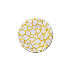 Skin1 White Marble & Yellow Marble Golf Ball Marker by trendistuff