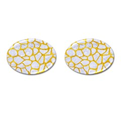 Skin1 White Marble & Yellow Marble Cufflinks (oval) by trendistuff