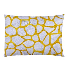 Skin1 White Marble & Yellow Marble Pillow Case by trendistuff
