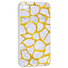 Skin1 White Marble & Yellow Marble Apple Iphone 4/4s Seamless Case (white) by trendistuff