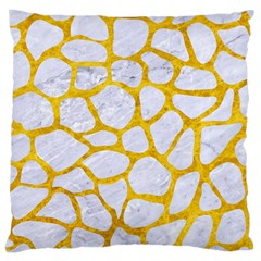 Skin1 White Marble & Yellow Marble Large Cushion Case (two Sides) by trendistuff