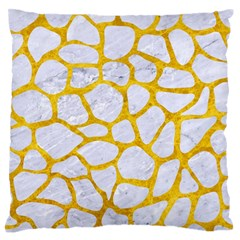 Skin1 White Marble & Yellow Marble Large Flano Cushion Case (two Sides) by trendistuff