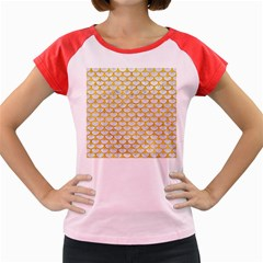 Scales3 White Marble & Yellow Marble (r) Women s Cap Sleeve T Shirt