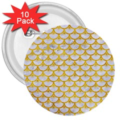 Scales3 White Marble & Yellow Marble (r) 3  Buttons (10 Pack)  by trendistuff