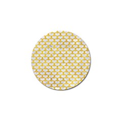 Scales3 White Marble & Yellow Marble (r) Golf Ball Marker by trendistuff