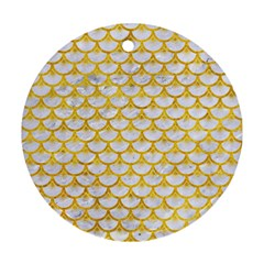 Scales3 White Marble & Yellow Marble (r) Round Ornament (two Sides) by trendistuff