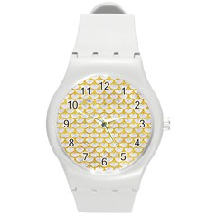Scales3 White Marble & Yellow Marble (r) Round Plastic Sport Watch (m) by trendistuff