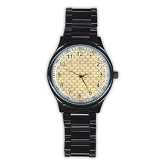 Scales3 White Marble & Yellow Marble (r) Stainless Steel Round Watch by trendistuff