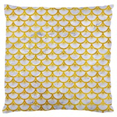 Scales3 White Marble & Yellow Marble (r) Large Flano Cushion Case (one Side) by trendistuff