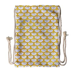 Scales3 White Marble & Yellow Marble (r) Drawstring Bag (large) by trendistuff