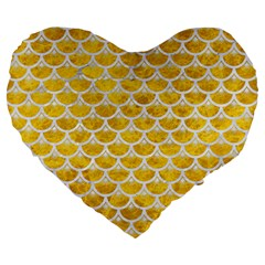 Scales3 White Marble & Yellow Marble Large 19  Premium Heart Shape Cushions
