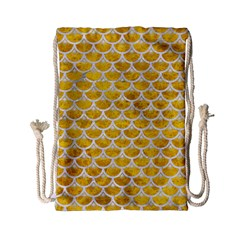 Scales3 White Marble & Yellow Marble Drawstring Bag (small) by trendistuff