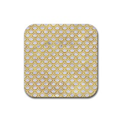 Scales2 White Marble & Yellow Marble (r) Rubber Square Coaster (4 Pack)  by trendistuff