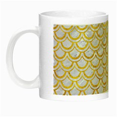 Scales2 White Marble & Yellow Marble (r) Night Luminous Mugs by trendistuff