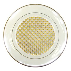 Scales2 White Marble & Yellow Marble (r) Porcelain Plates by trendistuff