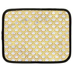 Scales2 White Marble & Yellow Marble (r) Netbook Case (large) by trendistuff