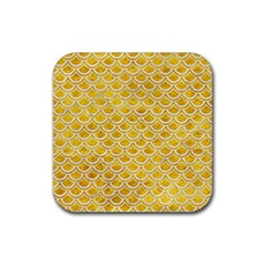 Scales2 White Marble & Yellow Marble Rubber Square Coaster (4 Pack)  by trendistuff