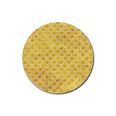 Scales2 White Marble & Yellow Marble Rubber Coaster (round)  by trendistuff