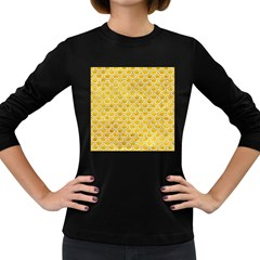 Scales2 White Marble & Yellow Marble Women s Long Sleeve Dark T Shirts by trendistuff