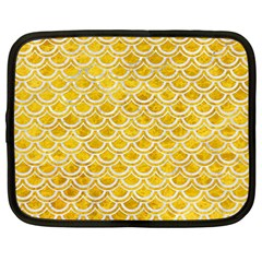 Scales2 White Marble & Yellow Marble Netbook Case (large) by trendistuff