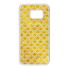 Scales2 White Marble & Yellow Marble Samsung Galaxy S7 White Seamless Case