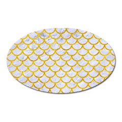 Scales1 White Marble & Yellow Marble (r) Oval Magnet by trendistuff