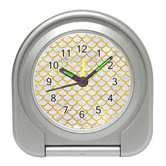 Scales1 White Marble & Yellow Marble (r) Travel Alarm Clocks by trendistuff
