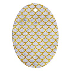 Scales1 White Marble & Yellow Marble (r) Oval Ornament (two Sides) by trendistuff
