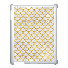 Scales1 White Marble & Yellow Marble (r) Apple Ipad 3/4 Case (white) by trendistuff