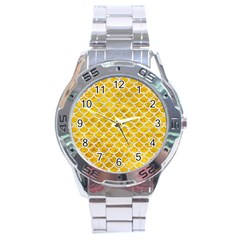 Scales1 White Marble & Yellow Marble Stainless Steel Analogue Watch by trendistuff