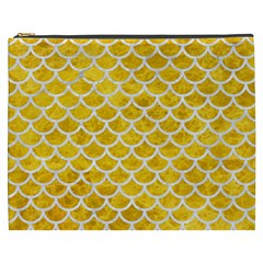 Scales1 White Marble & Yellow Marble Cosmetic Bag (xxxl)  by trendistuff