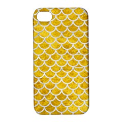 Scales1 White Marble & Yellow Marble Apple Iphone 4/4s Hardshell Case With Stand by trendistuff