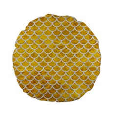 Scales1 White Marble & Yellow Marble Standard 15  Premium Flano Round Cushions by trendistuff