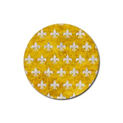 Royal1 White Marble & Yellow Marble (r) Rubber Coaster (round)  by trendistuff