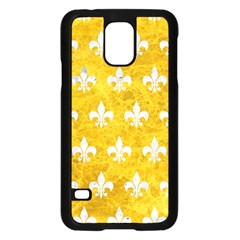 Royal1 White Marble & Yellow Marble (r) Samsung Galaxy S5 Case (black) by trendistuff
