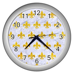 Royal1 White Marble & Yellow Marble Wall Clocks (silver)  by trendistuff