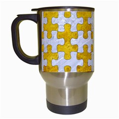 Puzzle1 White Marble & Yellow Marble Travel Mugs (white) by trendistuff