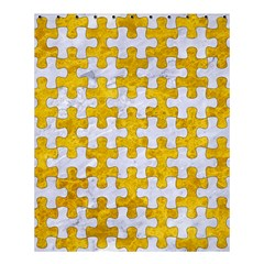 Puzzle1 White Marble & Yellow Marble Shower Curtain 60  X 72  (medium)  by trendistuff