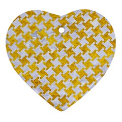 Houndstooth2 White Marble & Yellow Marble Heart Ornament (two Sides) by trendistuff