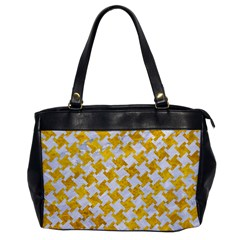 Houndstooth2 White Marble & Yellow Marble Office Handbags by trendistuff