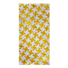 Houndstooth2 White Marble & Yellow Marble Shower Curtain 36  X 72  (stall)  by trendistuff