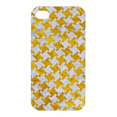 Houndstooth2 White Marble & Yellow Marble Apple Iphone 4/4s Hardshell Case by trendistuff