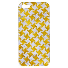 Houndstooth2 White Marble & Yellow Marble Apple Iphone 5 Hardshell Case by trendistuff