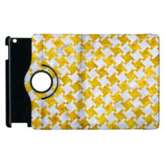 Houndstooth2 White Marble & Yellow Marble Apple Ipad 2 Flip 360 Case by trendistuff