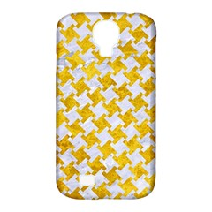 Houndstooth2 White Marble & Yellow Marble Samsung Galaxy S4 Classic Hardshell Case (pc+silicone) by trendistuff