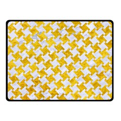 Houndstooth2 White Marble & Yellow Marble Double Sided Fleece Blanket (small)  by trendistuff
